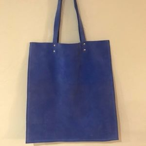 Open Box Blue Anthropologie Suede Tote